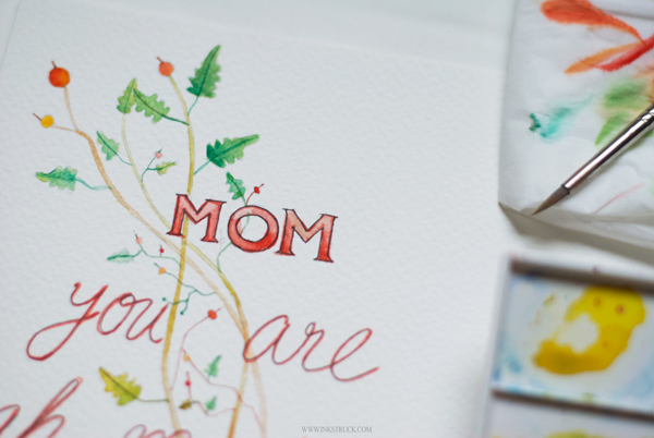 Mother's day illustration free printable done by Zakkiya Hamza of Inkstruck with watercolors