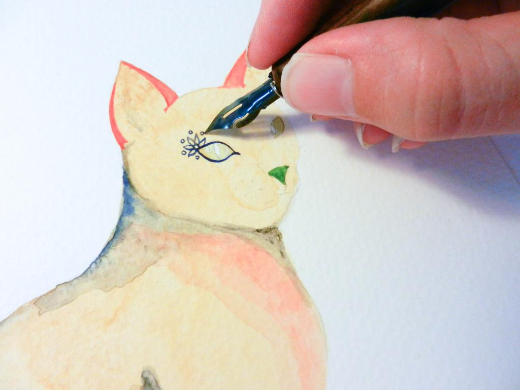 watercolor henna cat by lindsey bugbee