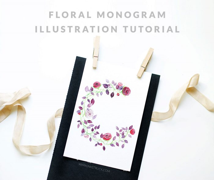 floral monogram illustration tutorial by inkstruck studio