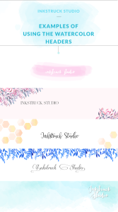 Get access to five free watercolor blog headers for making your blog or website look stylish and trendy by Zakkiya Hamza of Inkstruck Stuio.
