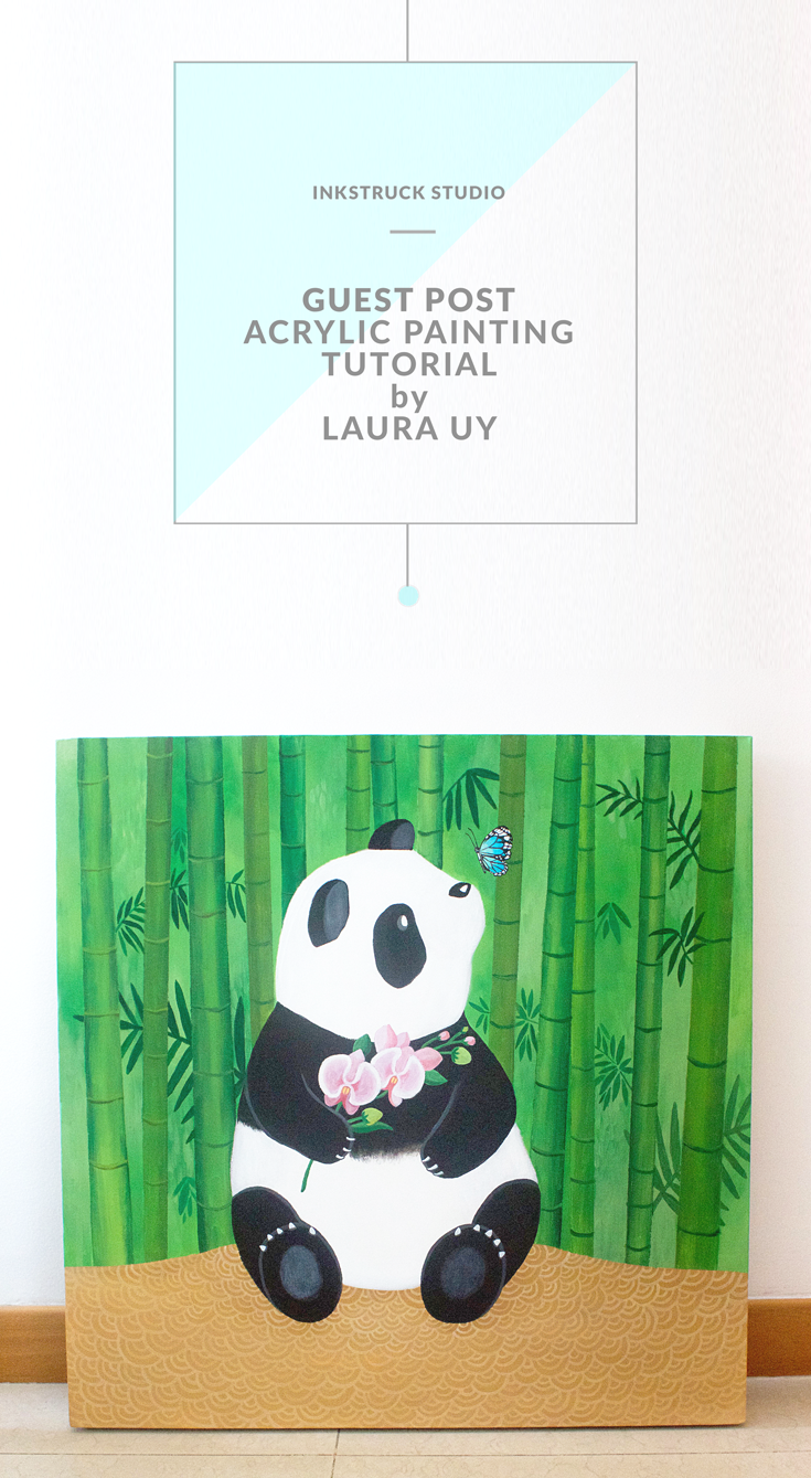 Acrylic painting tutorial of a panda by Laura UY of Art + Soul Creative Co.