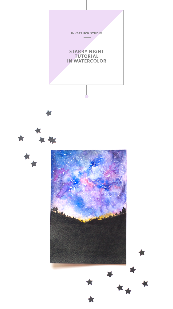 STARRY NIGHT TUTORIAL IN WATERCOLOR