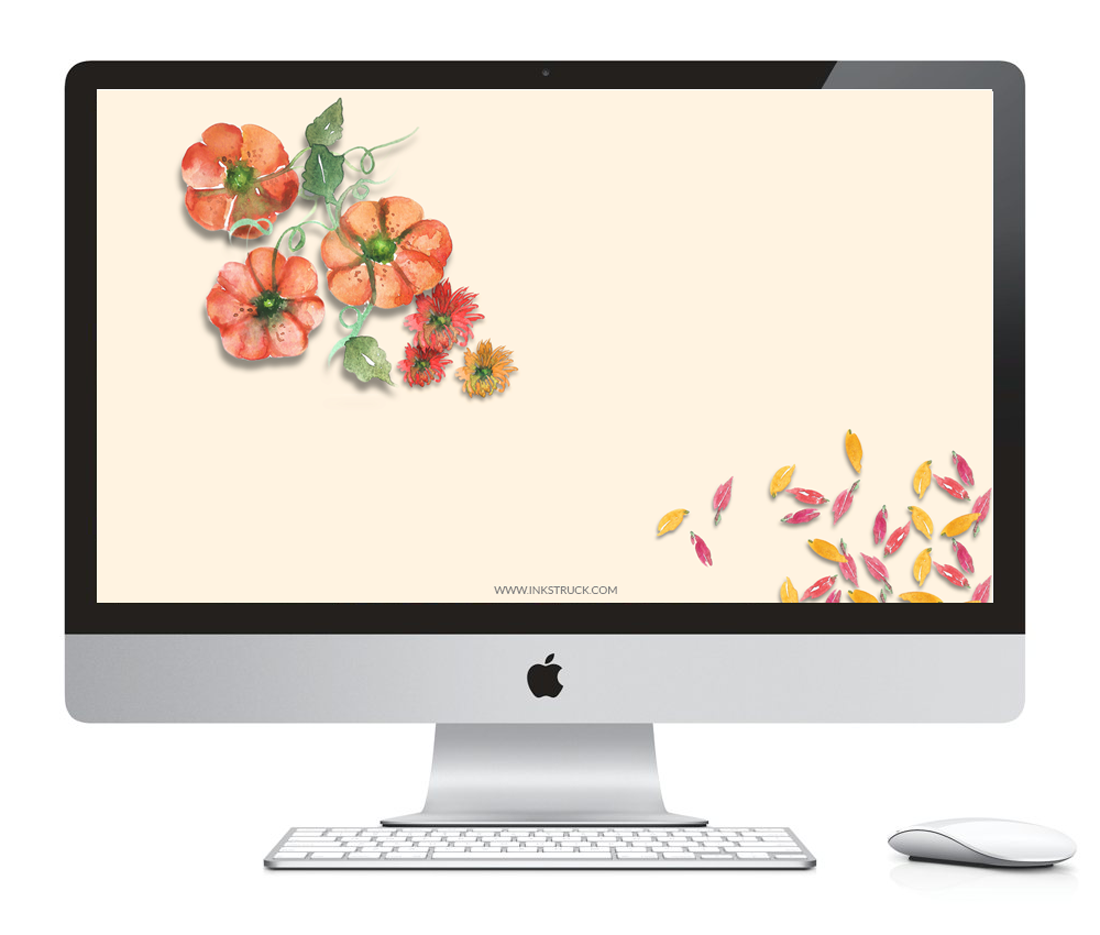 Download free watercolor pumpkin wallpapers for iMac,iPhone5,iPhone 6 and i{Phone 6 plus by Zakkiya Hamza of Inkstruck Studio.
