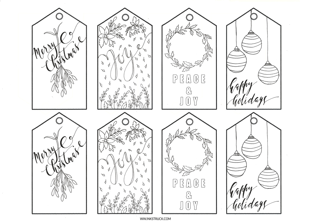 Adult Coloring Christmas Gift Tags Free Printable 0 Inkstruck Studio