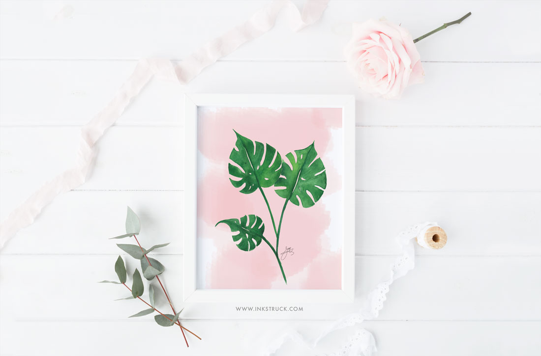 Download free watercolor tropical leaf printable | Inkstruck Studio