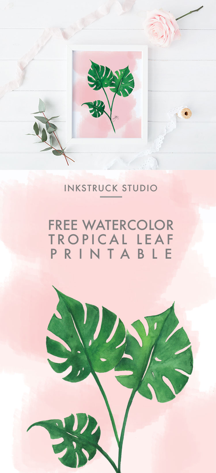 Free Watercolor Tropical Leaf Printable Inkstruck Studio Find images of tropical leaves. free watercolor tropical leaf printable inkstruck studio