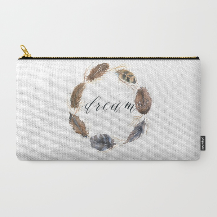 Watercolor feather wreath pouch-Inkstruck Studio