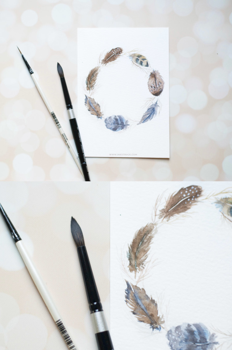 Learn to make a watercolor feather wreath in this detailed tutorial post - Zakkiya Hamza | Inkstruck Studio