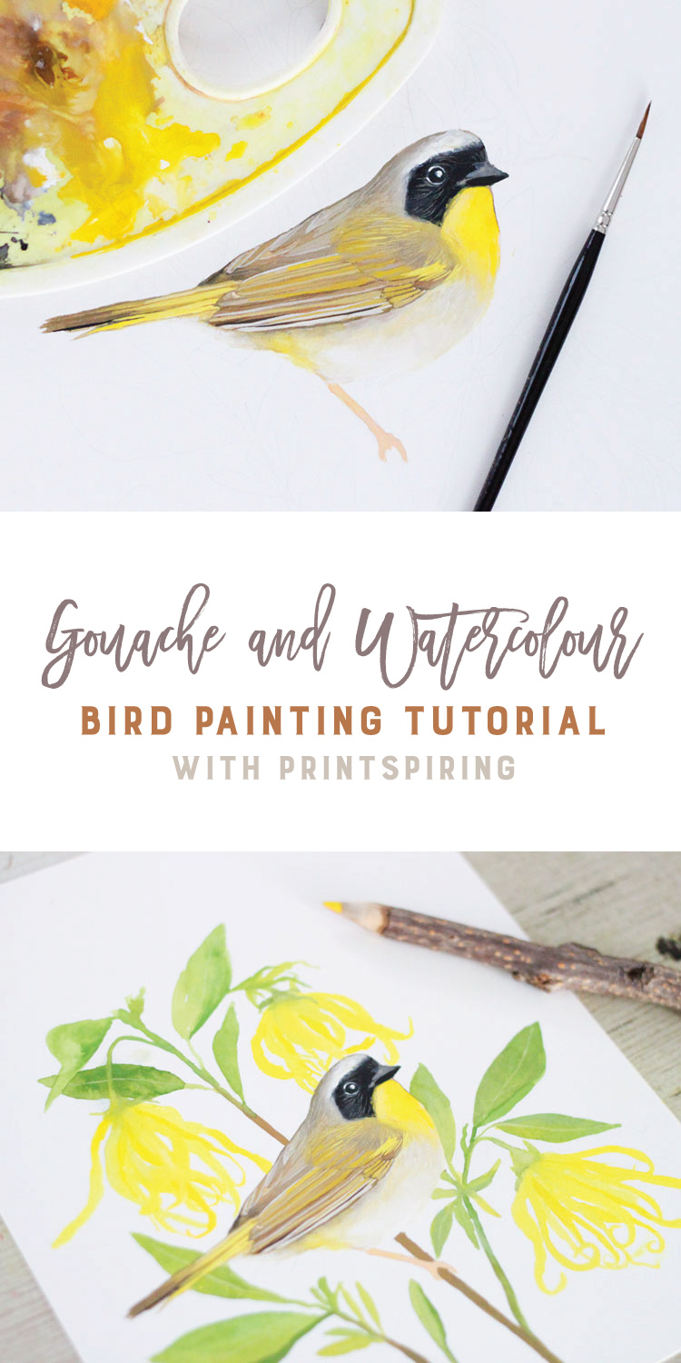 Gouache and Watercolour Bird Painting Tutorial