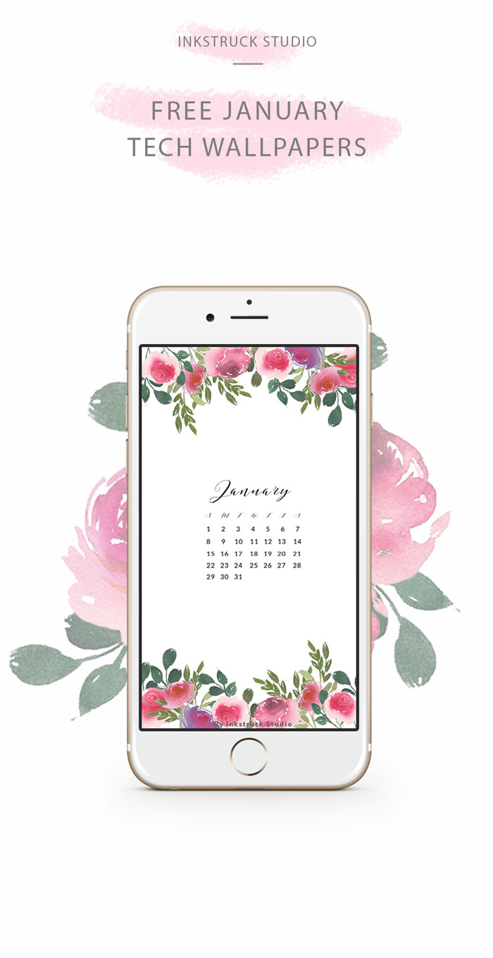 Free watercolor floral wallpaper for the month of January. Get free watercolor tech wallpapers every month! Click to know how - www.inkstruck.com