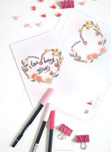 Need a quick fix for Valentine's Day? Download my free floral heart wreath card.Click to download! - Inkstruck Studio