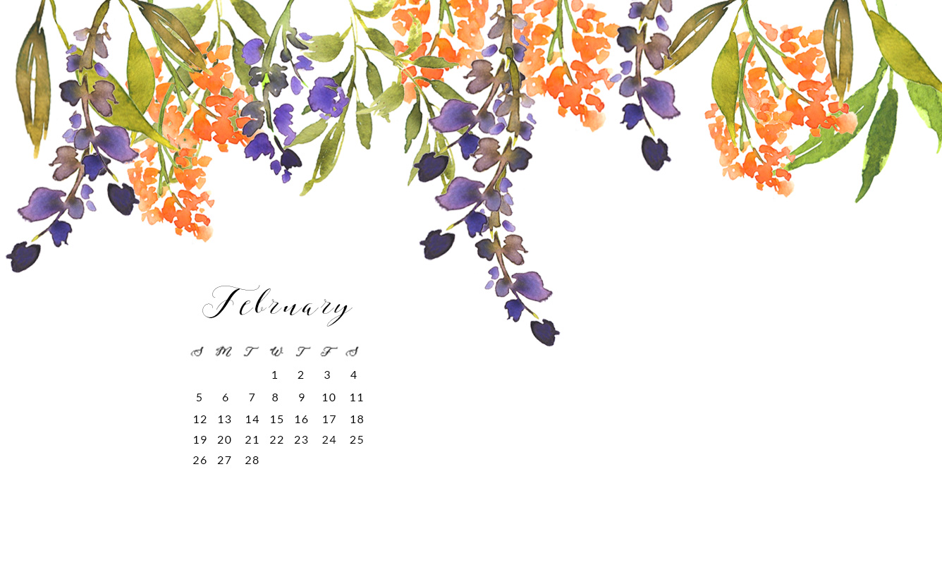 February Free Watercolor Wallpapers For Desktop
