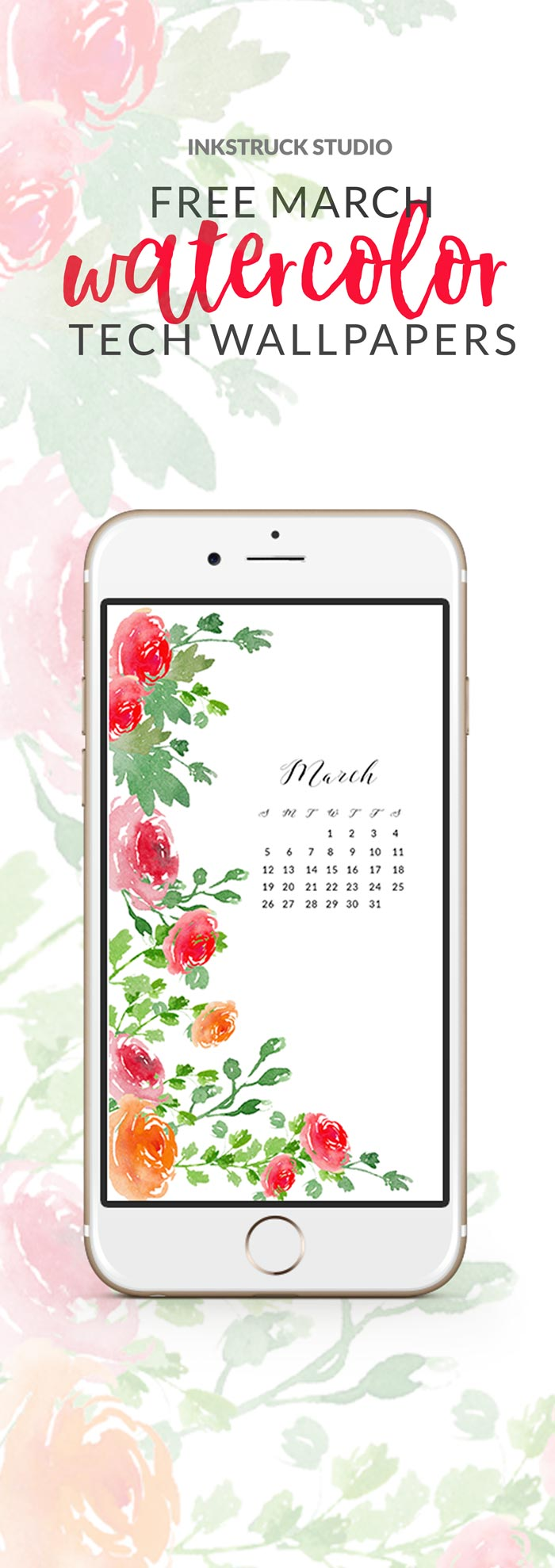 Time to change your tech wallpapers for March! And to make it pretty I have these March watercolor wallpapers for you on the blog. Click to download | www.inkstruck.com