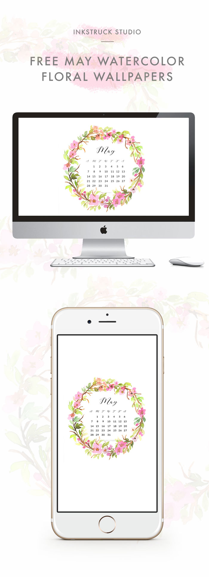 It's May! Time to change your wallpaper.Download this beautiful May watercolor wallpaper for desktops and phones - Inkstruck Studio