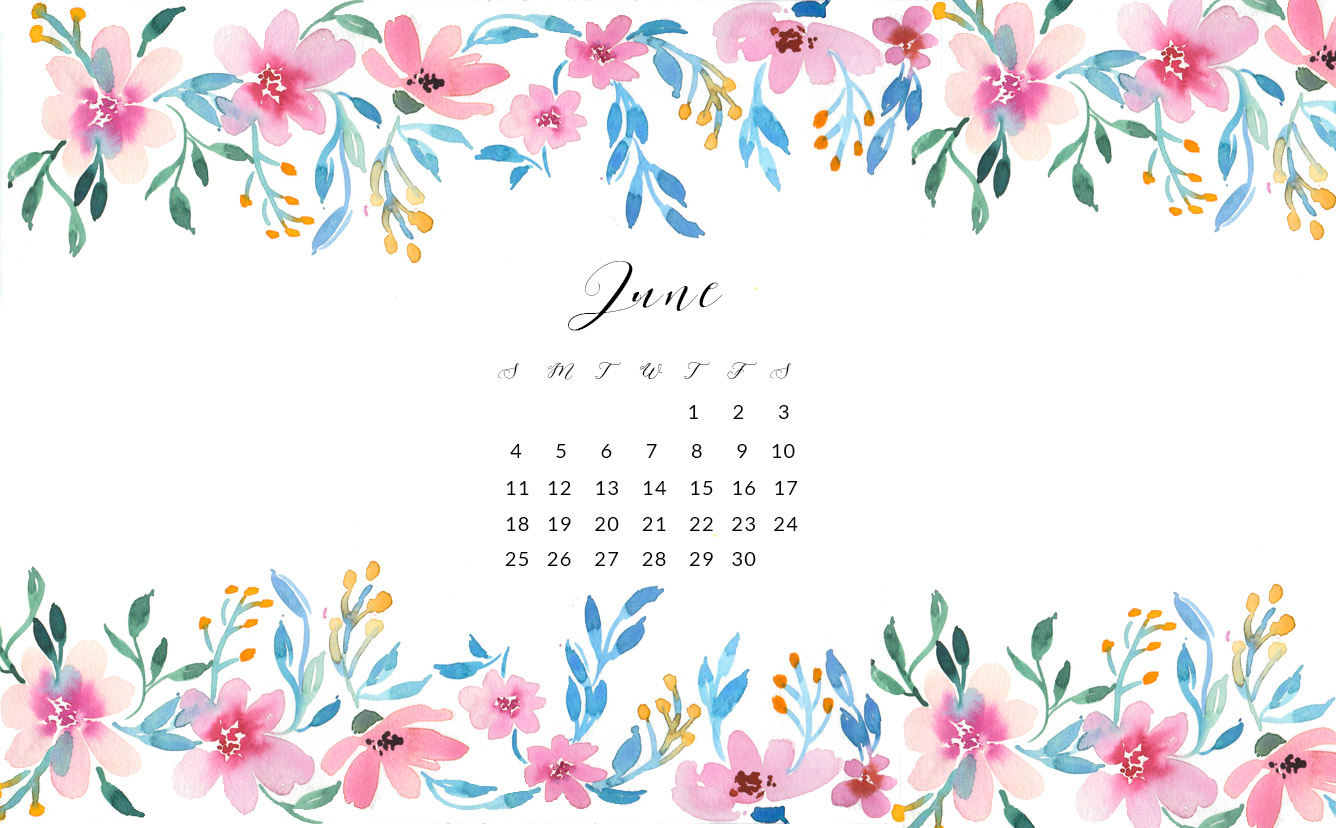 Download The Choice Of Your Free June Watercolor Wallpaper By Clicking The  Links Below: