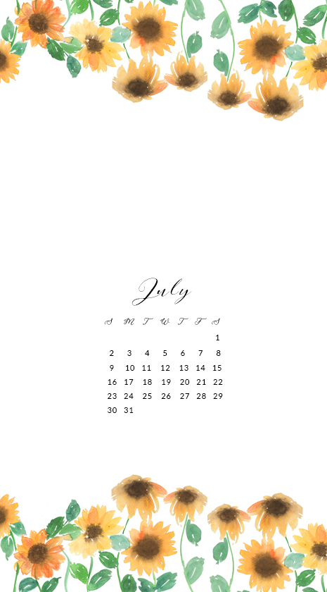 July Free Watercolor Wallpaper For Phone
