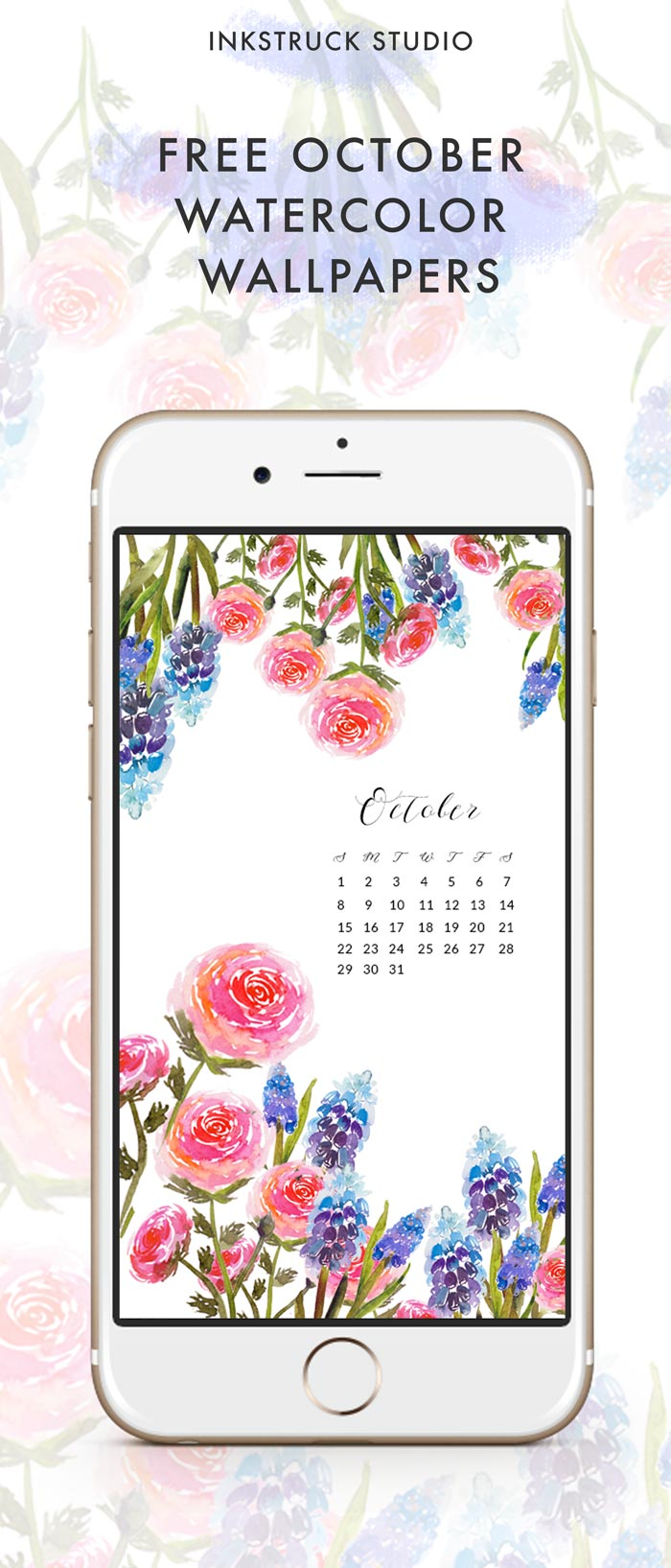 These October watercolor wallpapers are perfect to beautify your tech devices. Download them over at the blog for free - Inkstruck Studio