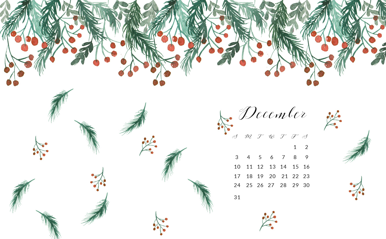 free december watercolor wallpapers - inkstruck studio