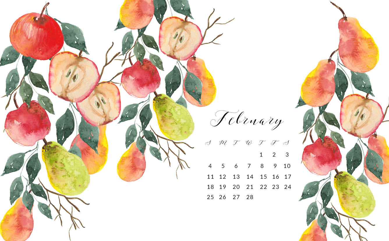 2018 February Free Watercolor Wallpaper For Desktop
