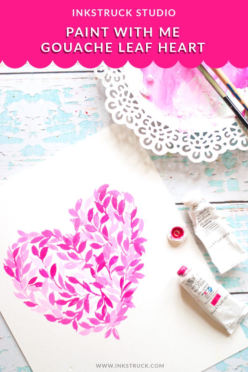 Learn to create an easy heart-shaped gouache leaf painting in this tutorial by Zakkiya Hamza of Inkstruck Studio