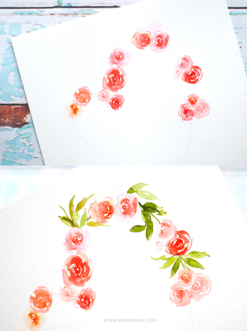 Learn to paint heart watercolor floral painting from this easy to follow tutorial by Zakkiya Hamza of Inkstruck Studio