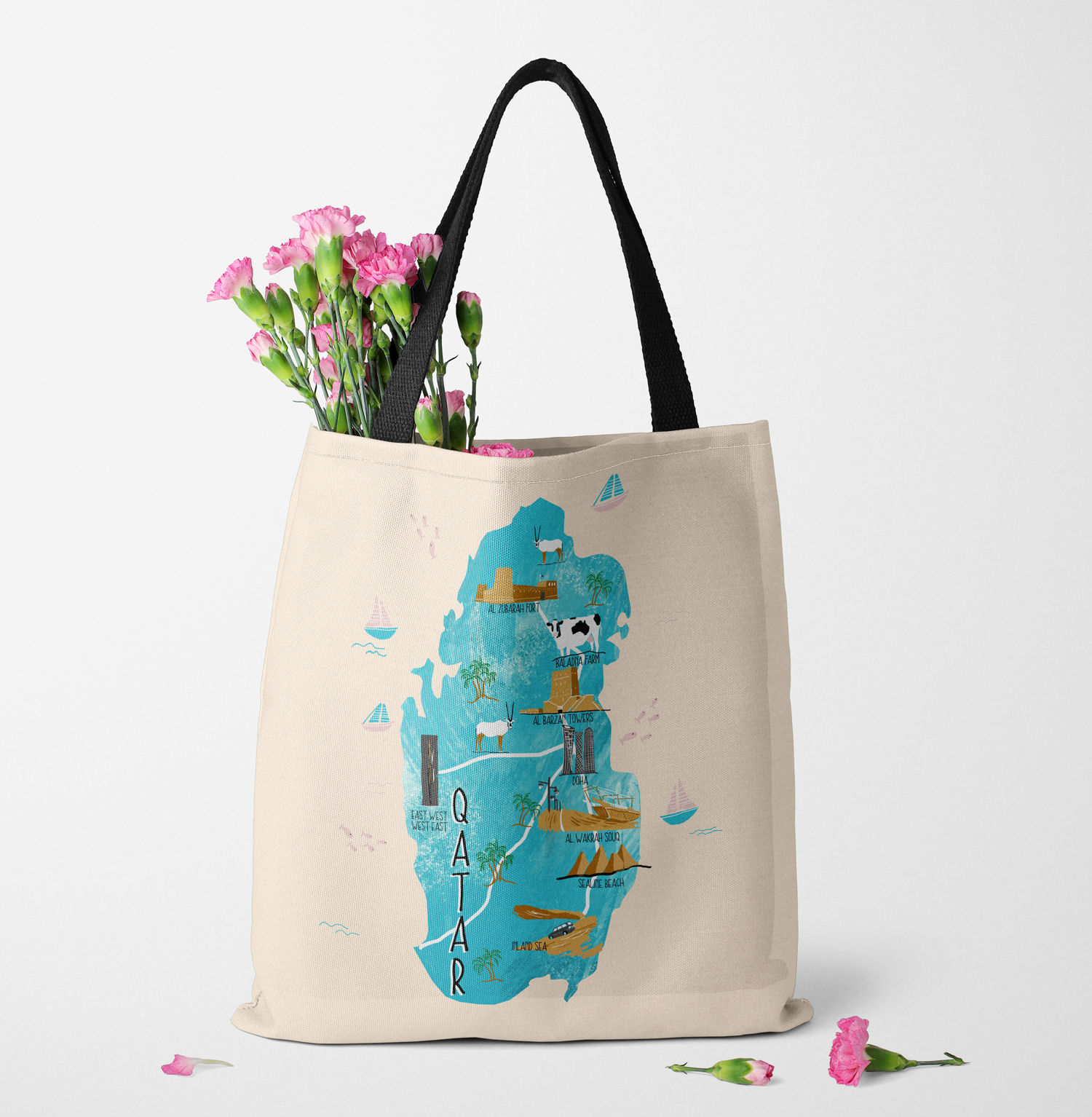 Qatar map illustration tote bag by Zakkiya Hamza