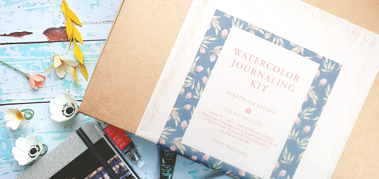 Watercolor journaling kit includes Arteza sketchbook,2 watercolor brushes,one palette with winsor and newton paints-Inkstruck Studio