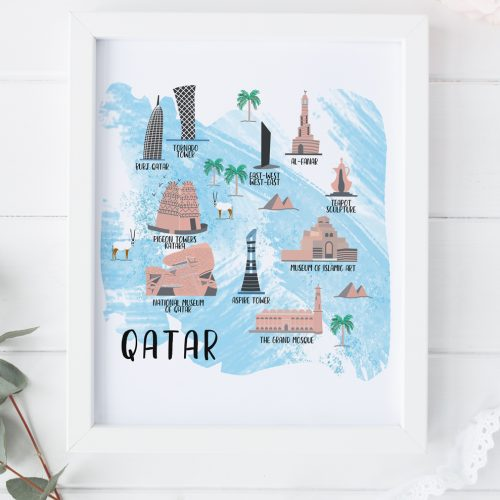 Doha landmarks illustration print by Zakkiya Hamza of Inkstruck Studio