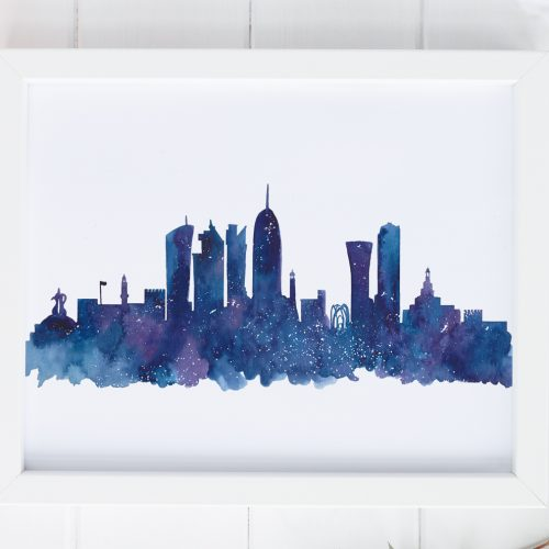 Doha skyline watercolour print by Zakkiya Hamza of Inkstruck Studio