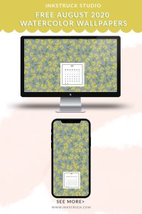 Download free 2020 August watercolor wallpapers for desktops and mobiles.