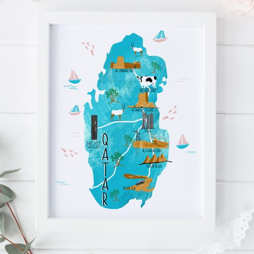 Qatar map illustration print by Zakkiya Hamza of Inkstruck Studio