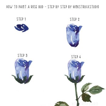 How to paint a watercolor rose bud step by step tutorial-Inkstruck Studio