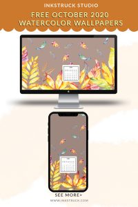 Download free 2020 October watercolor wallpapers for desktops and mobiles.