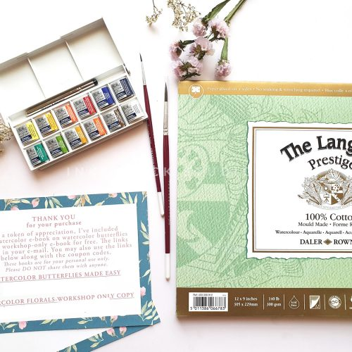 Watercolor beginners kit includes Winsor and Newton cotman watercolor set ,2 watercolor brushes,one palette and Langton Prestige 100% cotton watercolor paper pad-Inkstruck Studio