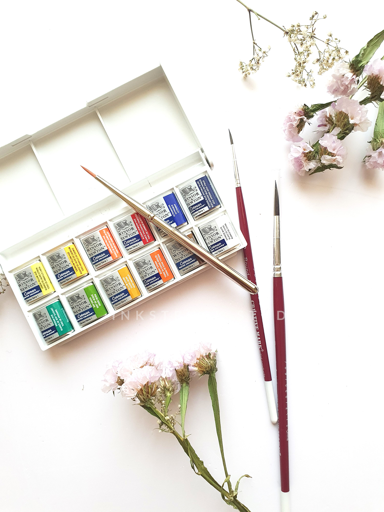 """Beginner watercolor supplies to kickstart your watercolor journey. It is a comprehensive kit that includes the materials required for an absolute beginner in watercolors. Free delivery available within Doha city limits. Delivery will be extra if the location is outside city limits. Pick up option available as well. International shipping is not available during this time.       Kit includes - Winsor and Newton Cotman half pan pocket-sized set of 12 includes a travel brush as well Langton Prestige 12""""x0"""" 100% cotton watercolor paper pad Palette (not pictured but is included) Creative hands watercolor brush round size 6 and detail size 3/0 """"Watercolor butterflies made easy """" e-book Watercolor florals workshop only copy e-book Express Paypal option available on this page. Upon checkout, you will have the options of Card payment, Bank transfer, and Paypal as well. Please choose your preferred payment and delivery option."""